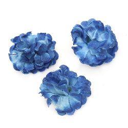 Цвят карамфил 45 мм с пънче за монтаж син - 10 броя