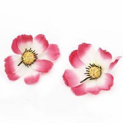 Floare cosmos de  75 mm cu boboc pentru montare culoare  albă și roz - 10 bucăți