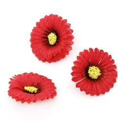Floare astra 35 mm cu boboc pentru montare culoare  roșu -10 bucăți