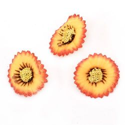 Artificial aster 35 mm with stump for installation, orange - 10 pieces