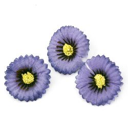Decorative flower aster 35 mm with stump for installation, accessories making, purple - 10 pieces