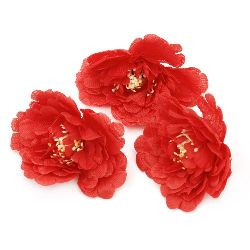 Peony color with stump 75 mm for installation, for DIY home decor projects, red - 5 pieces