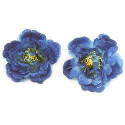 Peony flower with stump 75 mm  for installation, blue color - 5 pieces