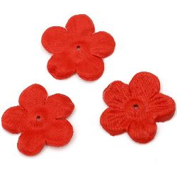 Artificial fabric flowers 45x45 mm for decoration, festive party supplies, red - 5 grams ~ 30 pieces