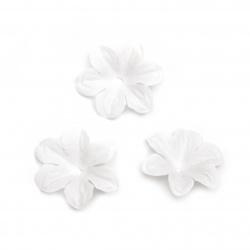 Цветя от плат за декорация цвят бял 55 мм  -30 броя