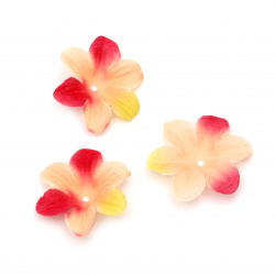 Fabric Flower 50 mm for decoration peach - 30 pieces