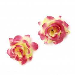 Textile rose 55 mm with stump for installation purple/yellow - 5 pieces