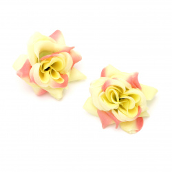 Texile rose 55 mm with stump for installation pink/yellow - 5 pieces