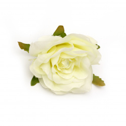 Textile rose 70 mm with stump for installation cream color - 2 pieces