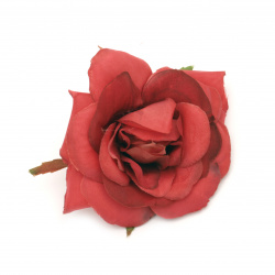 Textile rose 70 mm with stump for installation red - 2 pieces