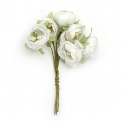 Buchet de flori textile 20x120 mm stamină Albă de styrofoam -6 bucăți