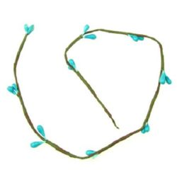 Decorative Fabric Branch5 mm -400 mm turquoise -5 pieces