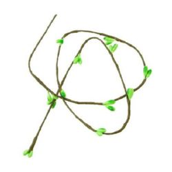 Decorative Fabric Branch 5mm -650mm green light -5 pieces