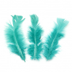 Feather for decoration 120~170x35~40 mm turquoise - 10 pieces