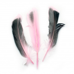 Feather for decoration 104~140x20~31 mm pink black - 10 pieces
