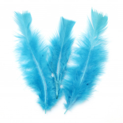 Colorful decorative feather 120~170x35~40 mm blue - 10 pieces
