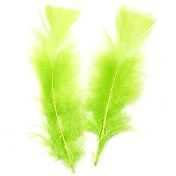 Feather for decoration 120~170x35~40 mm green light - 10 pieces