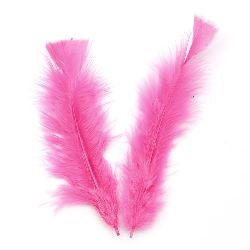 Furry feather for craft  projects 120~170x35~40 mm pink - 10 pieces