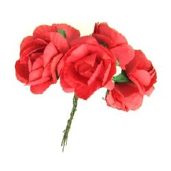 Bouquet of paper Roses with wire stems for decoration 35 mm red - 6 pieces