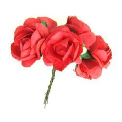 Роза букет хартия и тел 35 мм червена -6 броя