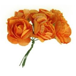 Bouquet of paper Roses with wire stems for decoration 35 mm orange - 6 pieces