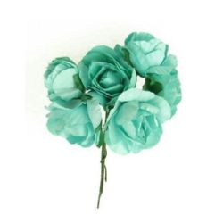 Bouquet of paper Roses with wire stems for decoration 30x80 mm turquoise - 6 pieces