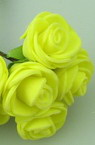 Vivid EVA Foam Rose bouquet 25 mm with wire stems, yellow - 12 pieces