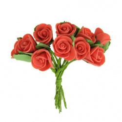 Роза букет 27x20 мм листо червена светло -12 броя