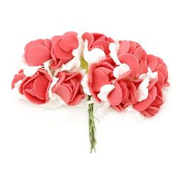 Rose bouquet of paper and EVA foam for decoration of festive cards, frames, albums 25x20 mm red with white - 12 pieces