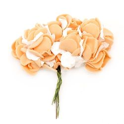 Rose bouquet of paper and EVA foam for handmade home decoration 25x20 mm orange with white - 12 pieces
