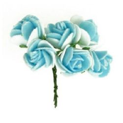 EVA Foam Rose bouquet with glitter 20x80 and Wire Stems, blue with white - 6 pieces