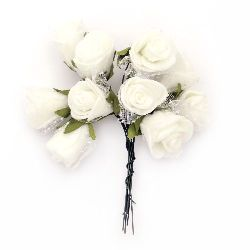 Rose bouquet for wedding table decoration, festive cards, albums 20x90 mm EVA foam and organza white - 10 pieces