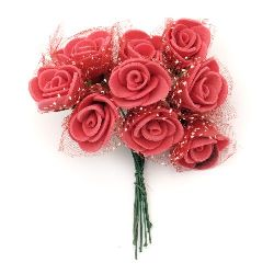 Rose bouquet with wire stems for festive table decoration 20x90 mm rubber and organza red - 10 pieces