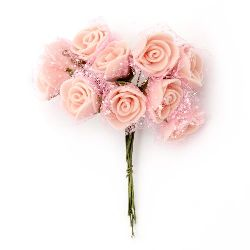 EVA Foam and organza Rose bouquet 20x90 mm with wire stems, light pink - 10 pieces