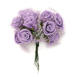 Rose bouquet for festive table decoration 20x90 mm rubber and organza, purple - 10 pieces