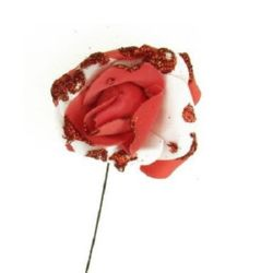 EVA Foam Rose 50 mm two colors with glitter red
