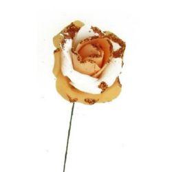 Роза 50 мм два цвята брокат оранжева
