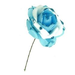 EVA Foam Rose 50 mm two colors with glitter, light blue