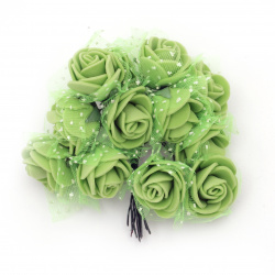 EVA Foam and organza Rose bouquet 25x80 mm with Wire Stems, green - 12 pieces