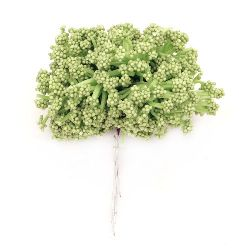 Bouquet bush snow and rubber 85 mm green -12 pieces