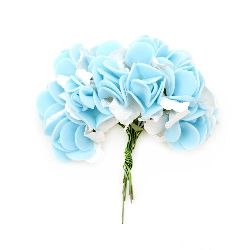 Rose bouquet of paper and rubber for scrapbook projects, decoration of boxes 25x20 mm blue with white -12 pieces