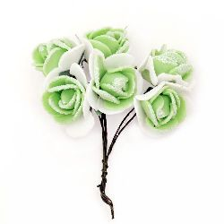 EVA Foam Rose bouquet with glitter 20x80 and wire stems, green with white - 6 pieces
