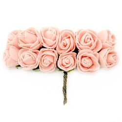 Delicate rose bouquet with wire for embellishment of tiaras, hairpins 20x90 mm peach color -12 pieces
