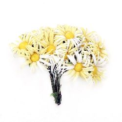 Artificial daisy bouquet from textile for decorations of albums, frames 25x90 mm white and yellow - 12 pieces