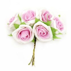Rose bouquet from EVA foam for embellishment of festive cards, frames, albums 35x110 mm white and pink - 6 pieces