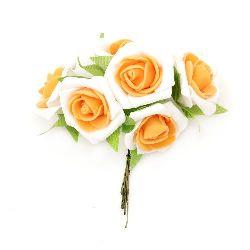 Τριαντάφυλλα με φύλλα 35x110 mm λευκό πορτοκαλί -6 κομμάτια