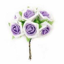 Роза букет гума 35x110 мм листо бяло лилаво -6 броя