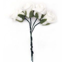 EVA Foam Rose bouquet  40x45 mm with Wire Stems 130 mm, white - 4 pieces