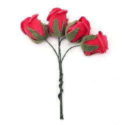 Τριαντάφυλλα με φύλλα 40x45 mm κοτσάνι 130 mm κόκκινο -4 κομμάτια
