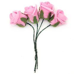 Роза букет гумирана 40x45 мм дръжка 130 мм розова -4 броя